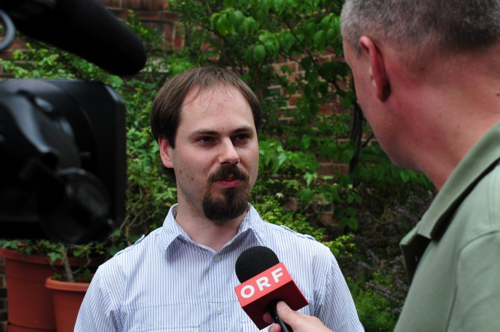 Manuel Schneider auf der Wikimania Washington D.C. 2012. Lizenzhinweis: CC-BY-SA-3.0, Ralf Roletschek, Wikimedia Commons
