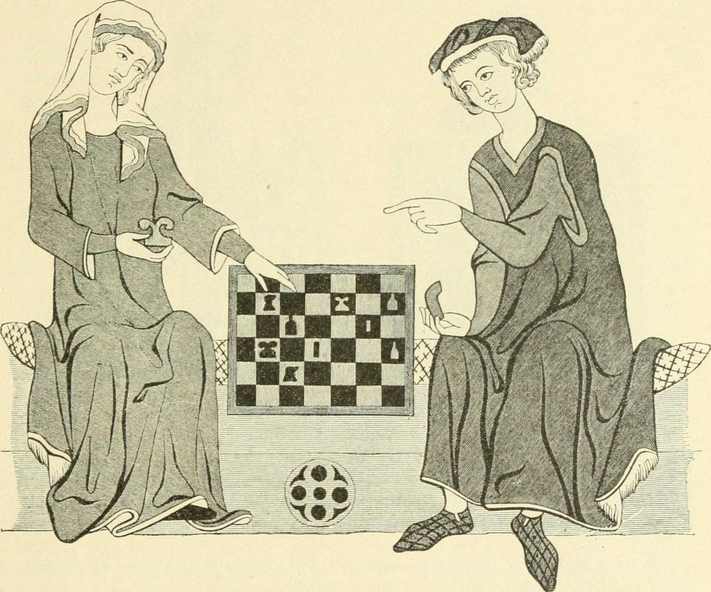 Schachspieler. Miniatur der Heidelberger Minnesinger-Handschrift, Lizenz: Public Domain