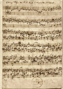 "The first page of the manuscript of the ""Ricercar a 6"" BWV 1079 by Johann Sebastian Bach. Public Domain"