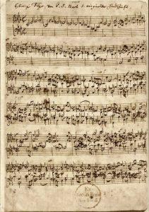 Anfang des sechsstimmigen Ricercars aus dem Musikalischen Opfer (Bachs Autograph). Public Domain. Für diesen Podcast ausgewählt von Nikola Kalchev.