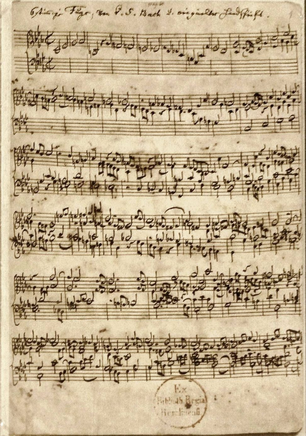 """The first page of the manuscript of the """"Ricercar a 6"""" BWV 1079 by Johann Sebastian Bach. Public Domain"""