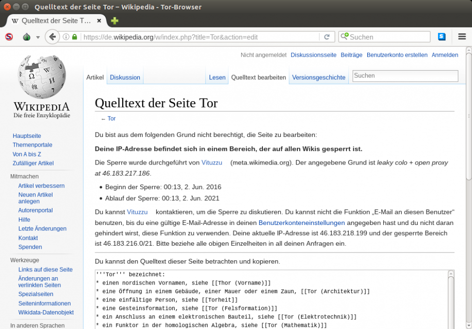 Kein Bearbeiten des Artikels Tor im Tor-Browser. Screenshot: Sebastian Wallroth, CC-0