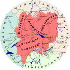 Alemannischer Schprochruum mit Bezaichnige, wie si in dr Region gängig sin. Karte: al-Qamar, alemannische Wikipedia. Lizenz: CC-BY-SA-3.0