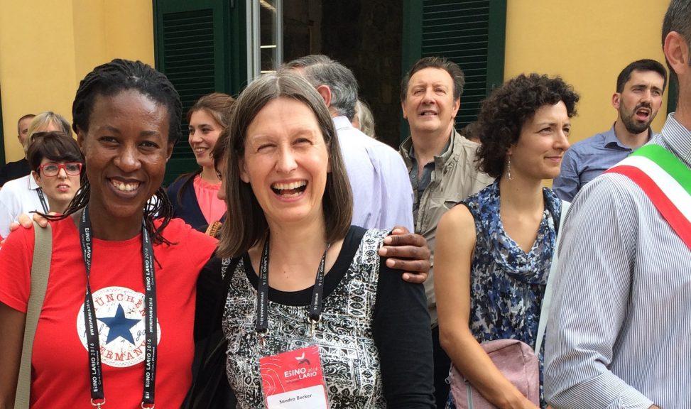 Sandra Becker und Mpoh Sello auf der Wikimania 2016 in Esino Lario, Italien. Foto: Medea7 Lizenz: CC-BY-SA-4.0