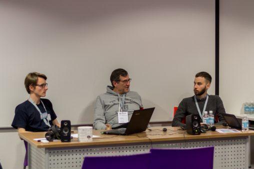 Raphael Mair, Michael Beckenkamp und Erwan Kucharski bei der Wikimedia Conferentie Nederland 2016, MeetingPlaza, Utrecht