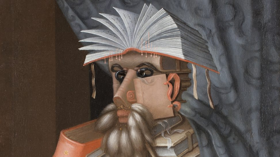 Ausschnitt aus dem Gemälde Der Bibliothekar von Giuseppe Arcimboldo, gemalt 1562. Quelle: Wikimedia Commons